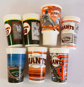 1997-2002-San-Francisco-Giants-SOUVENIR-CUP-COLLECTION-x7-Lot-Willie-Mays-Cepeda