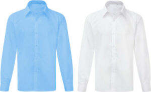 OnlySwim Boys School Shirt Uniform Long Sleeve White Sky Blue Age 2-18 Years
