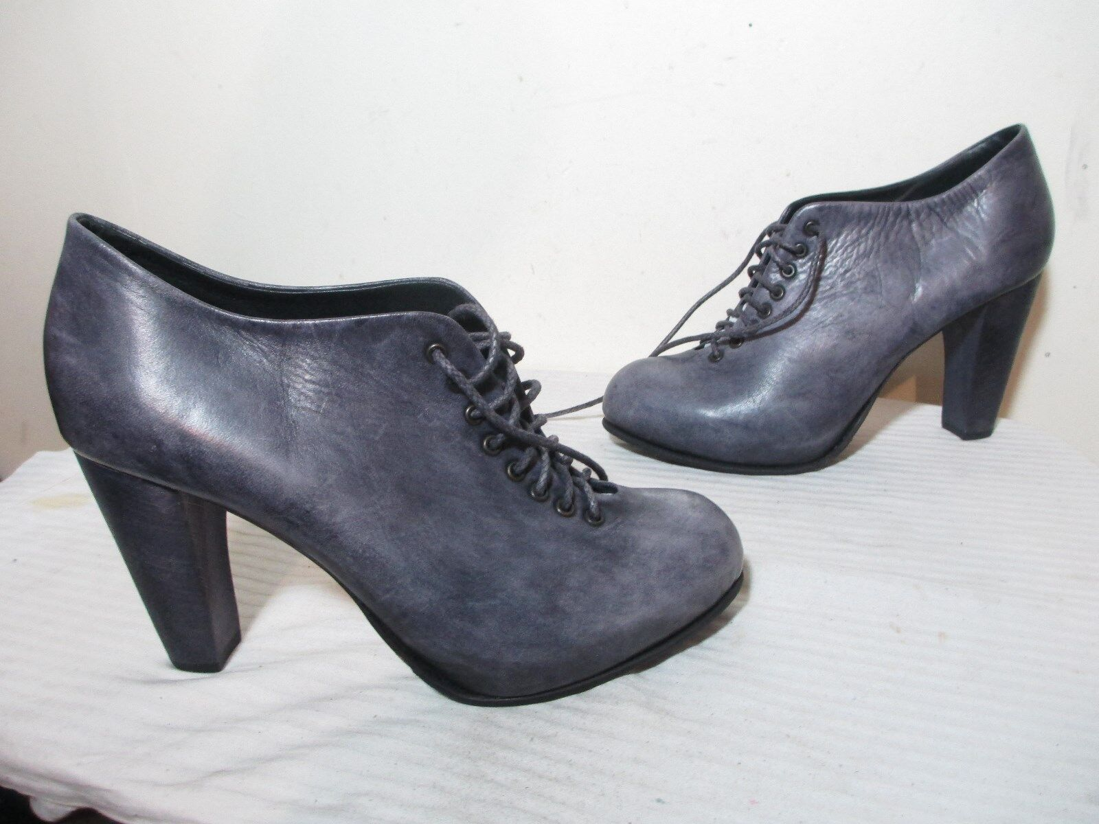 340 REINHARD PLANK WO'S WASHED PURPLE LEATHER PLATFORM LACE UP PUMPS  40 US 9.5