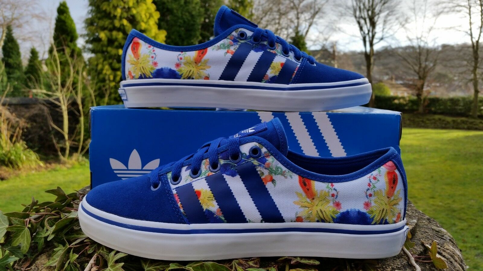 Adidas Originals Womens Adria Low Trainers shoes Sneaker Floral bluee UK 5.5