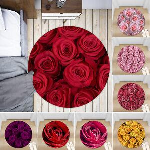 Bright-Rose-Flower-Non-slip-Round-Soft-Area-Rug-Floor-Carpet-Door-Mat-Home-Decor