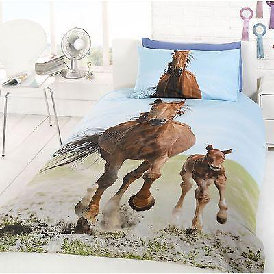 Horse & Foal 'Follow My Lead' Single Duvet Cover & Pillowcase Set (FREE P+P)