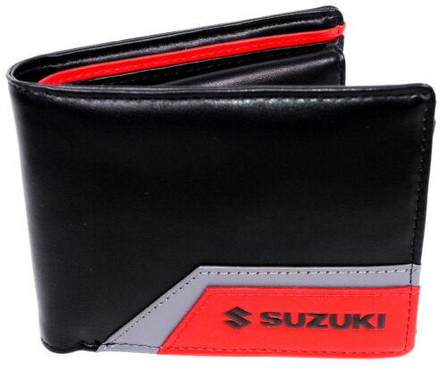 Suzuki Mens Leather Wallet New Genuine Black Red Coin Pocket 990F0-MWAL3-000
