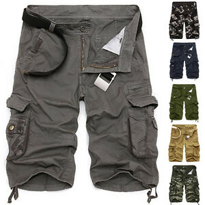 Men Casual Military Army 3 4 Cargo Combat Work Jeans Pants Trousers ... 59b0611fd40