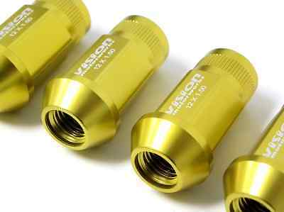 VMS 16 GOLD 60MM ALUMINUM EXTENDED TUNER LUG NUTS LUGS FOR WHEELS RIMS 12X1.25