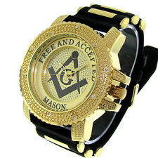MEN'S ICE NATION GOLD ICED OUT FREEMASON MASONIC HIP HOP WATCH WITH BULLET BAND