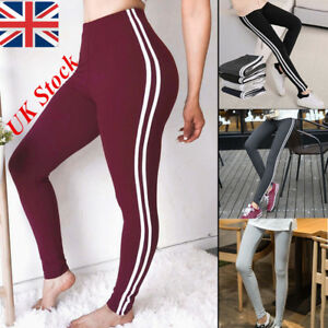 535af79173 Image is loading Womens-Striped-Yoga-Pants-Fitness-Leggings-Workout-Gym-