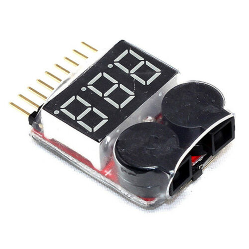 RC Lipo Battery Low Voltage Alarm 1S-8S Buzzer Indicator Checker LED N3H4 T F3S4