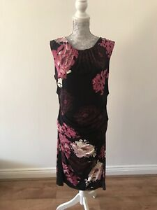 Phase-Eight-Black-with-Pink-And-White-Floral-Print-Dress-Party-Formal-Size-16