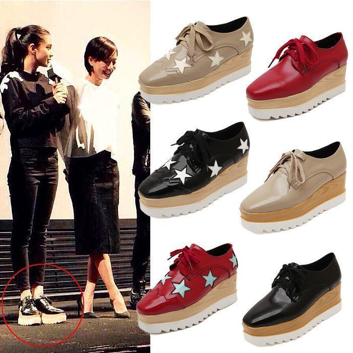 Women Star Lace Up Wedge High Heel Platform Flat Casual Oxford Creeper Shoes Sz