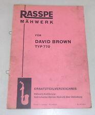 Teilekatalog Rasspe Mähwerk für David Brown Schlepper Typ 770 Stand 05/1958