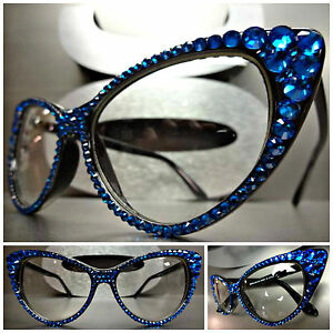 5e0da9a92e1a4 Details about Women s VINTAGE 60 s CAT EYE Style Clear Lens EYE GLASSES  Blue Crystals Handmade