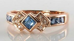 CUSTOM-ORDER-9CT-9K-ROSE-GOLD-SAPPHIRE-DIAMOND-ETERNITY-ART-DECO-INS-RING-Size-T