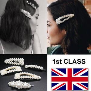 Bridal Gold Large Pearl Hair Clip Slide Women/'s Girls Barrette Hair Accessories