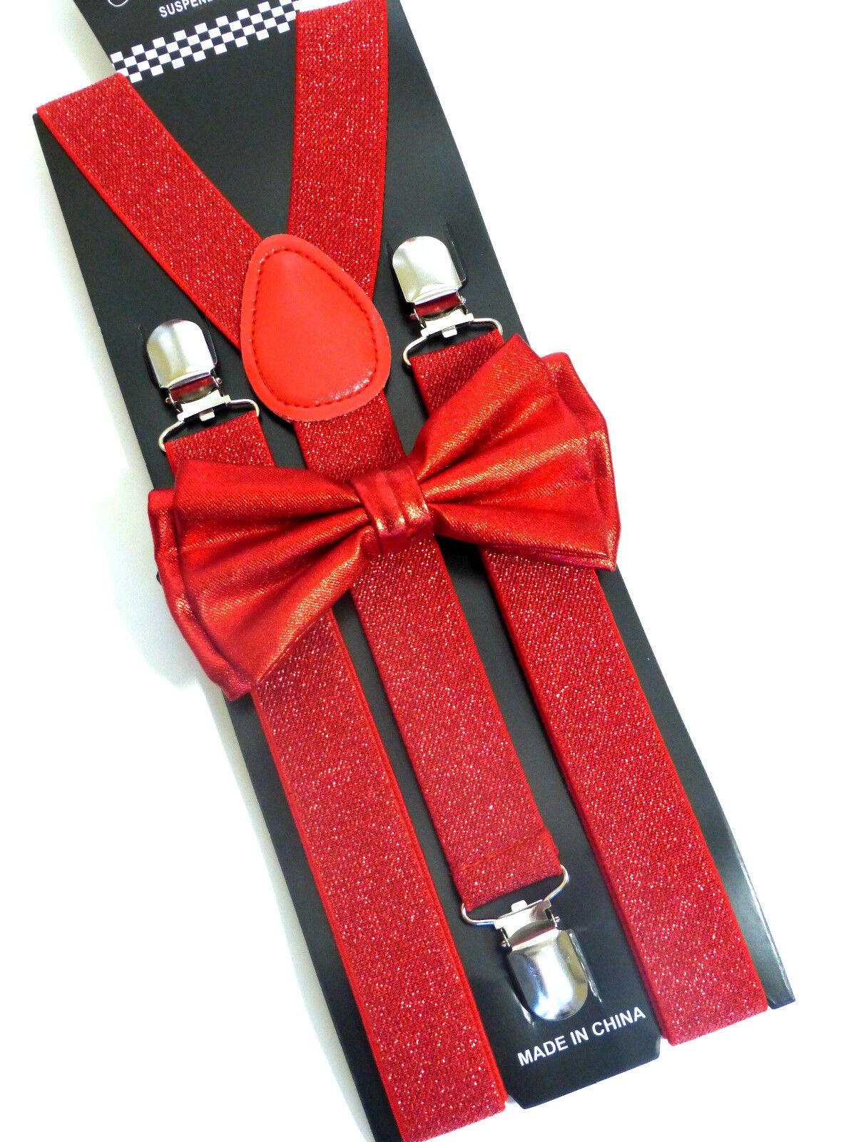 New Metallic Red Bow Tie & Matching Suspender Tuxedo Wedding Accessories