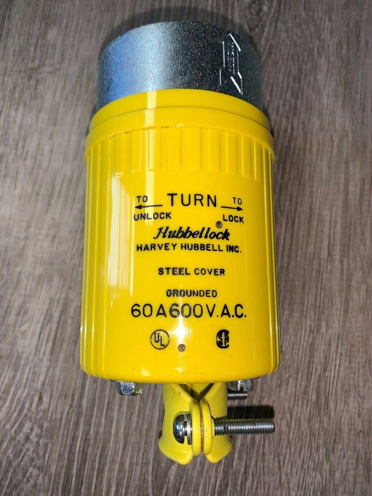 Used Hubbell HBL 26419 60A 600V Hubbellock Plug Non-NEMA