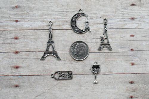Paris Set Lot Collection //Rings,Clasps,Bails MINI Charm Set 5 pcs