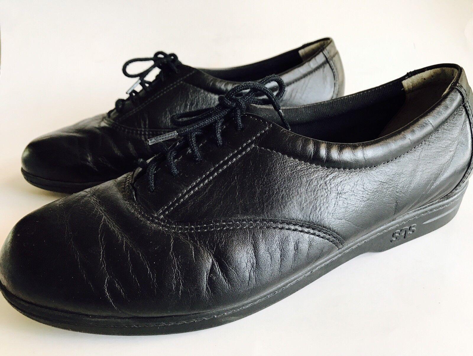 SAS Tripad Black Leather Oxfords Walking Comfort shoes Women's 9.5M USA made