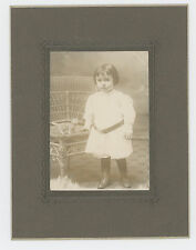 CABINET PHOTO CUTE CHILD WITH TOY CAT CANDY CONTAINER, STOFFLET, EASTON, PA.