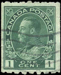 1913-Used-Canada-1c-F-Scott-123-King-George-V-Coil-Admiral-Stamp
