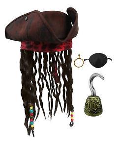 Caribbean-TriCorn-Pirate-Hat-Dreadlocks-Hair-Earring-Eye-Patch-Handheld-Hook-Set