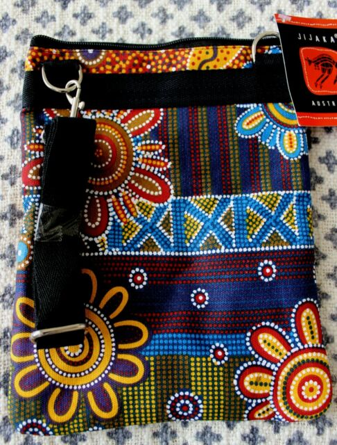 "Jijaka  Aboriginal Art Crossbody/Shoulder Sling Boho 3 Zip Bag "" Spinifex """