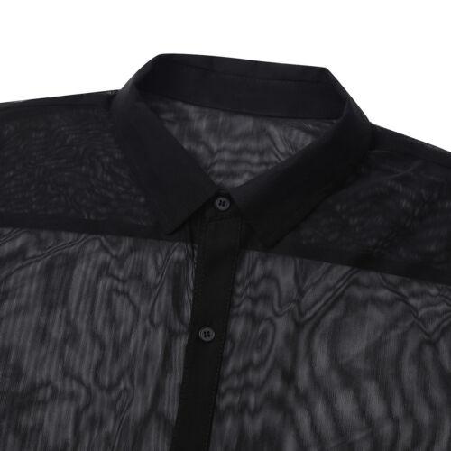 Herren Shirt Durchsichtig Unterhemd Tops Langarm Turn-down Kragen Hemd Clubwear