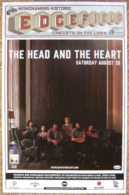 THE HEAD AND THE HEART 2014 Gig POSTER Edgefield Portland Oregon Concert
