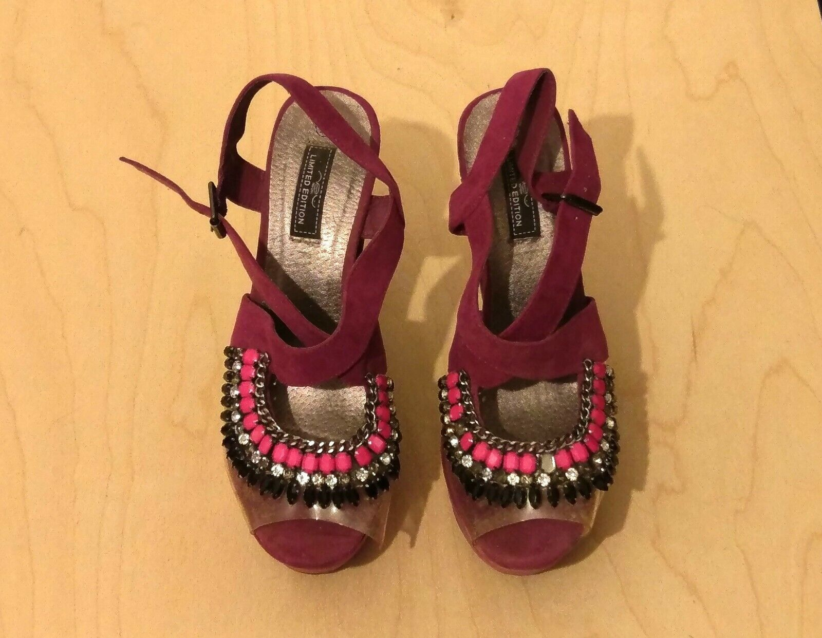 Purple Suede New Look Limited Edition Pink Jewel Platform Block Sandals Size 7