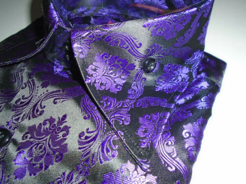 Mens 2038 Sangi Milan Collection Royalty High Collar F//C Shirt Purple Black