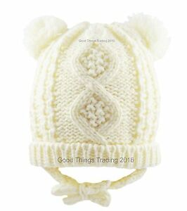 a23bc2a728f Baby Hat Knitted Winter Pom Pom Bobble With Ears Chin Tie Boy Girl 6 ...