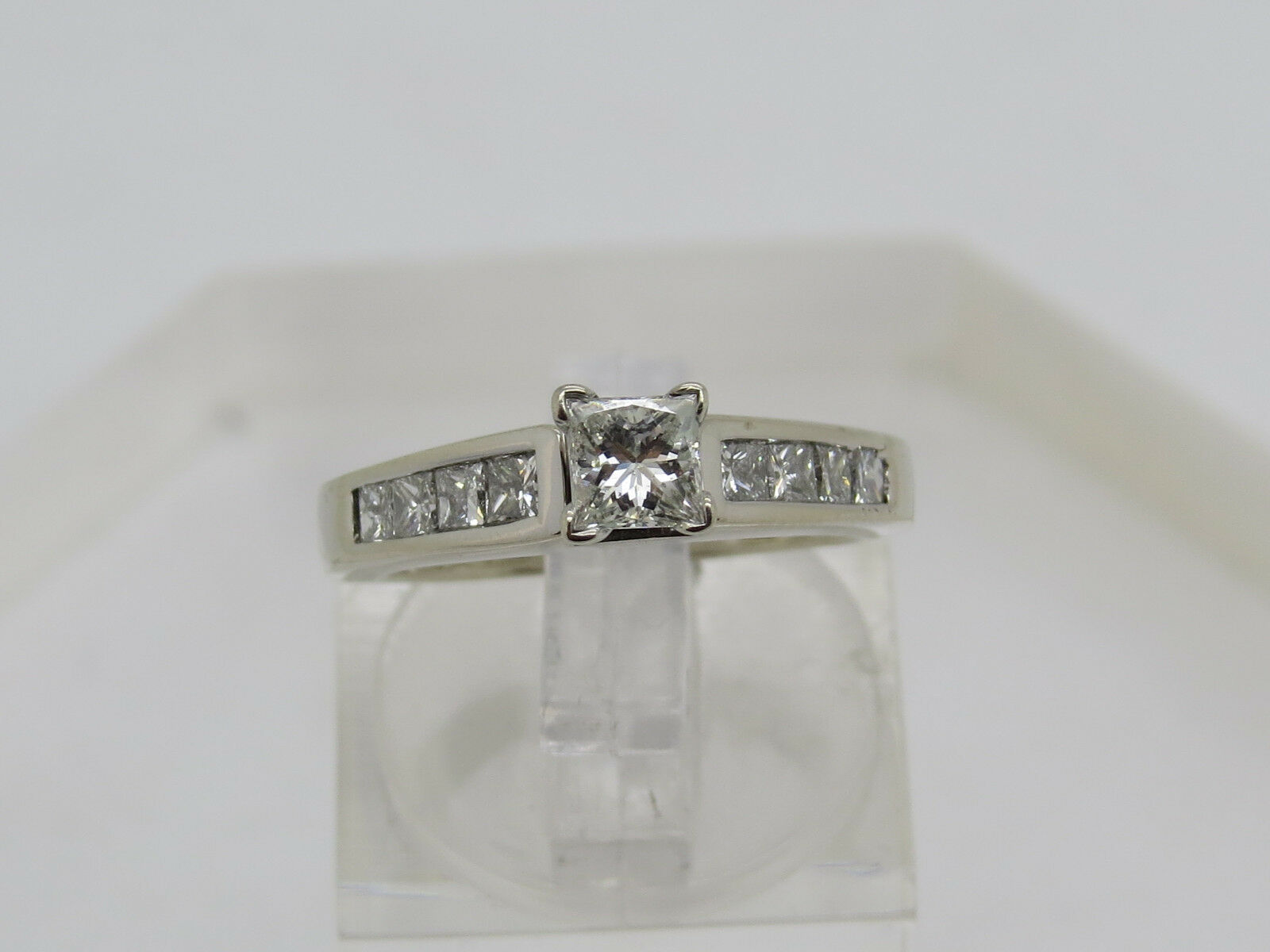 Solid 14k White gold Princess Cut .94 CTW Diamond Solitaire Accent Ring Sz 4.75