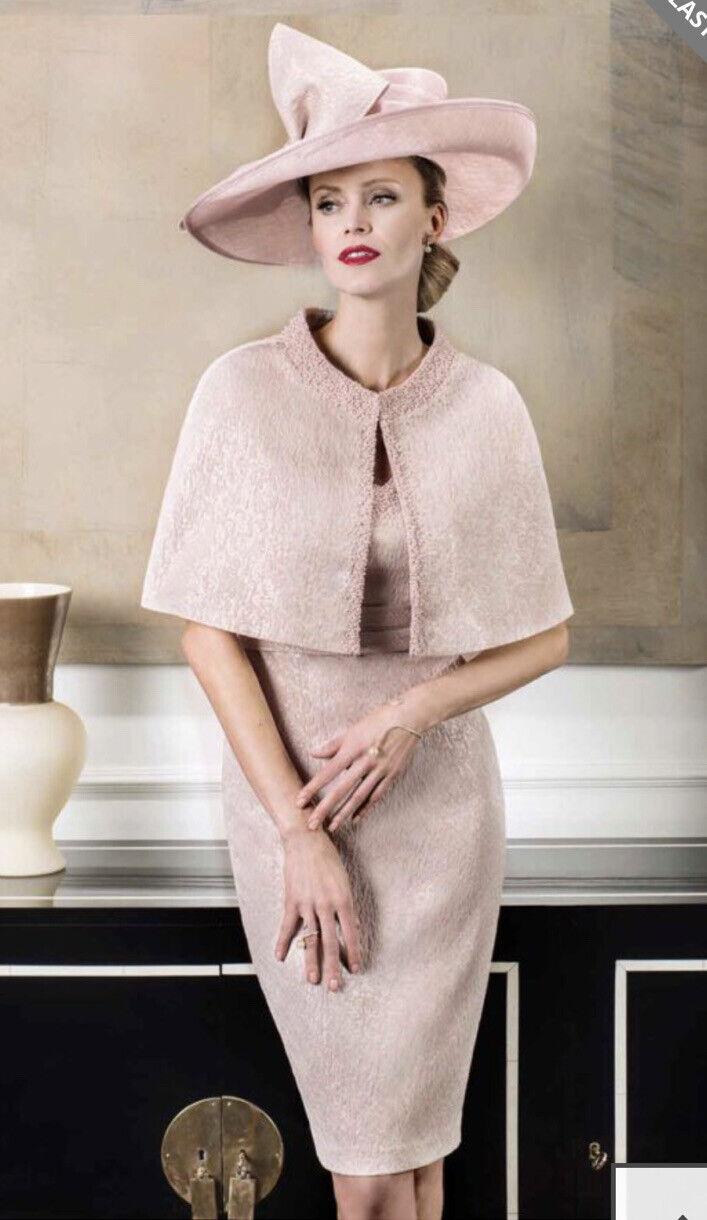 Stunning John Charles 26302A Blush Pink Sparkly Dress & Cape Size 16 New