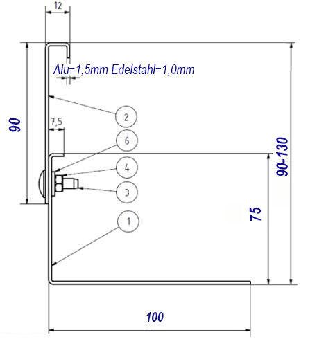 Aluminium Kiesfangleiste höhenverstellbar 90-130mm  Kiesleiste Balkon Flachdach