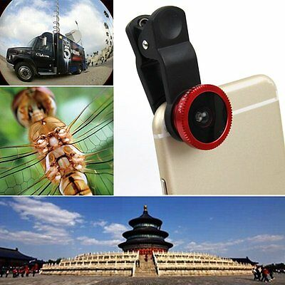 3in1 Clip On Camera Lens 180° Fisheye + Wide Angle + Macro for All Cell Phones