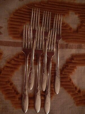 Lady Hamilton Community Oneida silver plate set of 6 dinner forks Mono Y