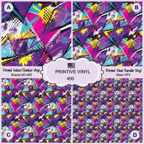 Abstract Urban graffiti Pattern Printed HTV 490 Adhesive Vinyl