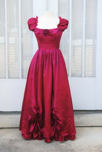 1970s RARE Gunne Sax Gown 9 S 34 Rose Red Satin Fu