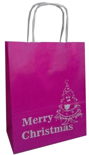 Manille papier imprimé Sacs Cadeau ou Nettoyer Joyeux Noël Noir Rose 18x8x21cm