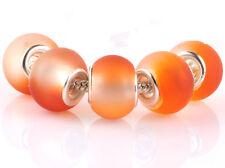 5pcs SILVER MURANO Orange jelly spacer beads fit European Charm Bracelet #D935
