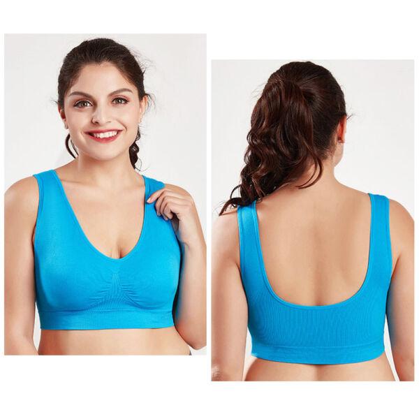 Damen Plus Size Wireless BH Sport einstellbar gepolstert Vollständige Abdeckung