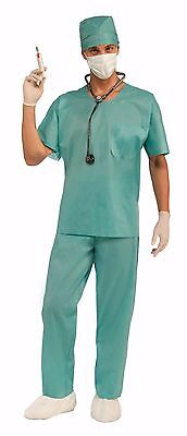 Mens Doctor Costume Surgeon Hospital Scrubs Outfit Green ER Dr Doctors Adult NEW