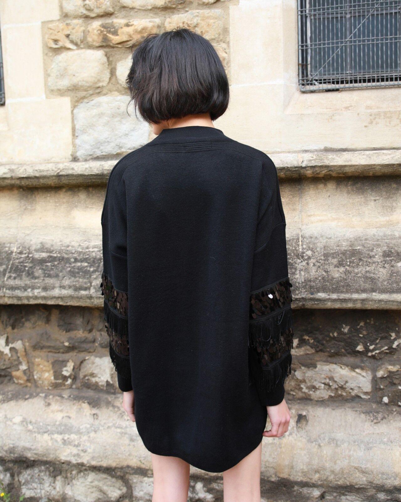 Tassel fringed and sequin embellished tunic knitted jumper dress dress dress wool blend 2e1309