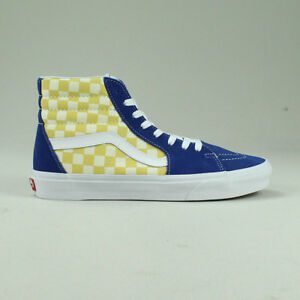 Vans BMX Checkerboard Sk8 Hi Shoes Trainers in Yellow Blue in UK ... 91e335d57