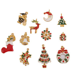 11pcs-Gold-Plated-Enamel-Christmas-Charms-Pendants-Xmas-Tree-Boots-Santa