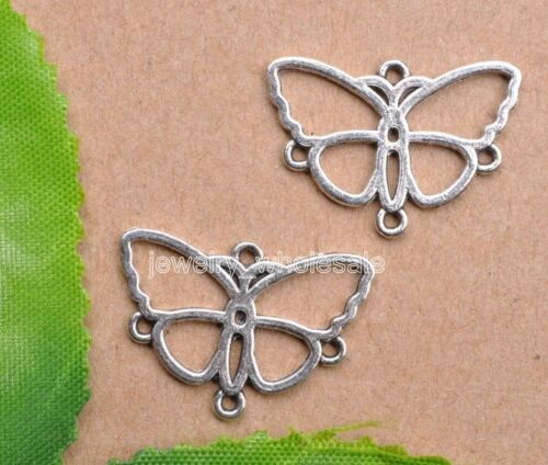 20pcs Tibetan Silver Charm Butterfly Earring Connectors 18X24mm Jewelry Making