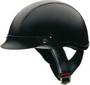 HCI Gloss Black Motorcycle Half Helmet with Visor ABS Shell 100-110
