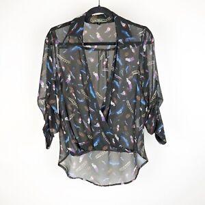 Lovestitch-Size-Small-Blouse-Shirt-V-Neck-Faux-Wrap-Style-Feather-Boho-Black