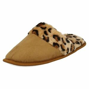Great Price! Ladies Response Tan/leopard Print Mule Slippers Begeistert 69335