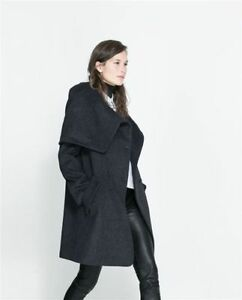 a21fd5526f Details about SALE! ZARA DARK GREY WRAPAROUND COLLAR COAT DOUBLE BREASTED  JACKET SIZE SMALL S